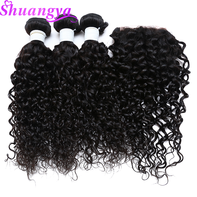 Indian Water Wave 3 4 Bundles With Closure Human hair Bundles With Closure Shuangya Remy Hair
