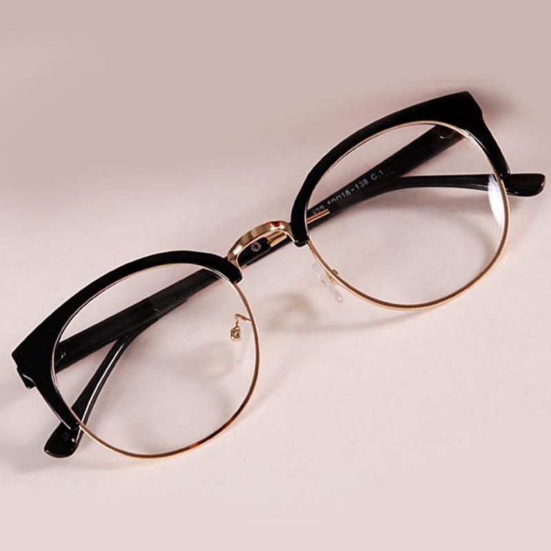 Frame Glasses Spectacles Metal Plastic Women Fashion Anti-Radiation-Goggles Semicircle