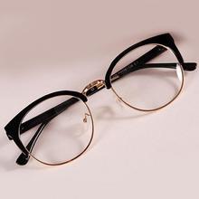 Горячие Стиль Анти-излучения очки простые стеклянные очки модные женские металл+ пластик полукруглая рамка стекло es простое стекло