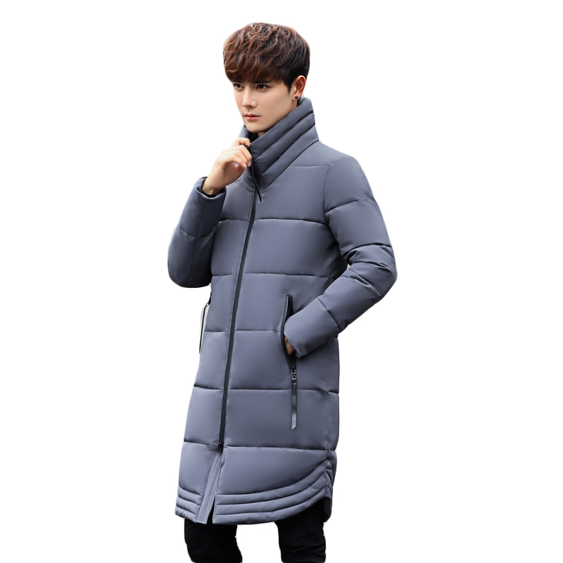High Quality New Men Stand Collar Long Slim Winter Jacket Male Clothing Down Cotton Coat Black Grey Green Down Parkas Men CM1951 new winter hooded jacket men brand clothing male cotton autumn coat new top quality black long parkas men