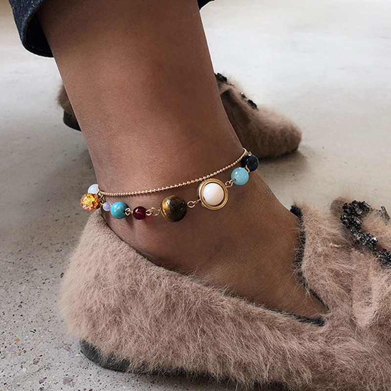 Jewelry Sets & More Jewelry & Accessories Danze Solar System 9 Planets Universe Stars Ankle Chain Women Office Colorful Stones Double Layer Bead Adjustable Foot Chain