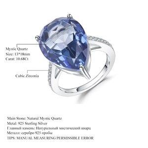 Image 5 - GEMS BALE 10.68Ct Doğal Iolite Mavi Mistik Kuvars Yüzük 925 Ayar Gümüş Taş kokteyl yüzüğü Kadınlar Için Güzel Takı