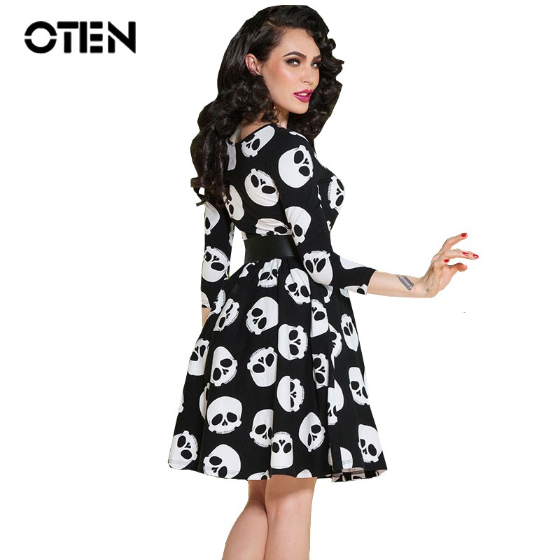 OTEN Summer dress elegant Vintage Ball Gown Skulls print 50s 60s rockabilly pinup Evening Party large size Clothes womens 2017