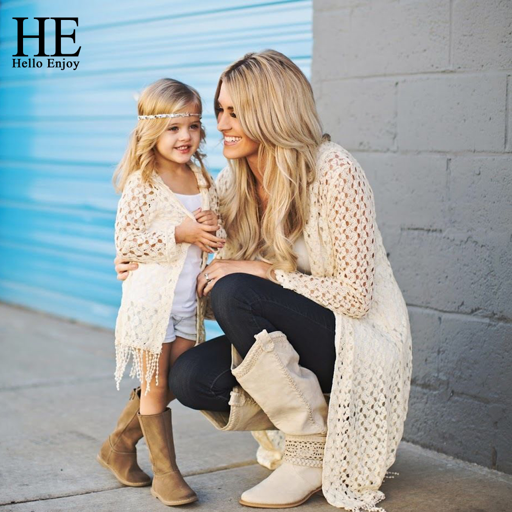 HE Hello Enjoy Mother And Daughter Clothes 2018 Autumn Mommy Me Clothes Tassel Jacket Coat+Vest 2pcs Family Matching Outfit family fashion mother and child tendrils down coat thickening jacket vest mother