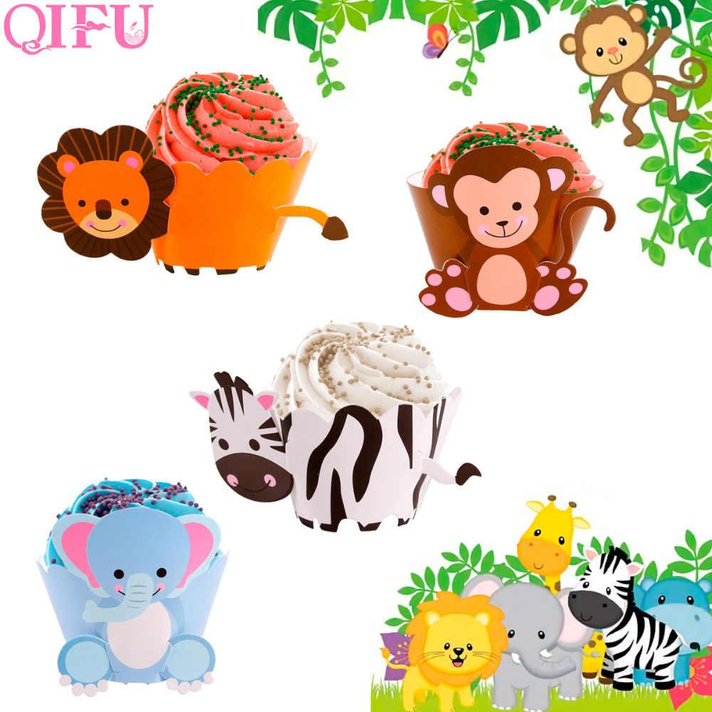 QIFU Dinossauro Conjunto Festa de Aniversário Envoltórios Do Queque Decoração Do Partido Dos Miúdos Favores Presentes Macaco Leão Animais De Papel Decorações Do Bolo