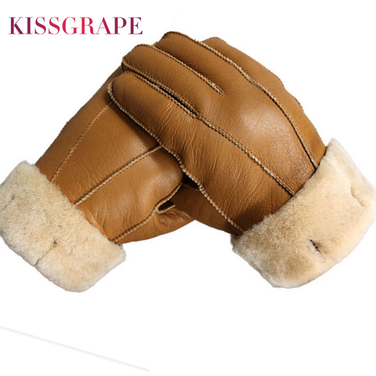 New Men Winter Gloves Warm Genuine Sheep Fur Gloves For Men Thermal Goat Fur Cashmere Real Leather Leather Snow Gloves Manual