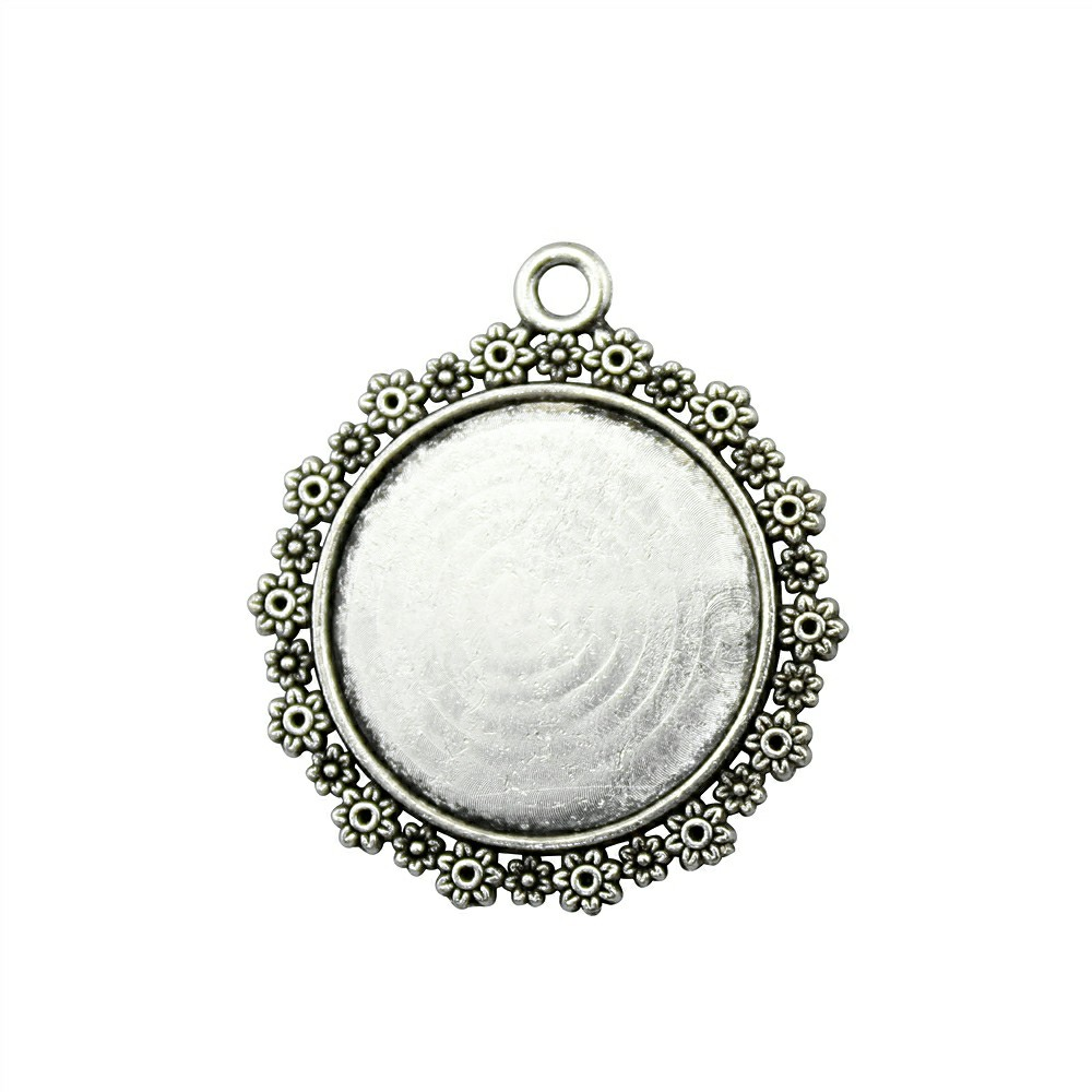 10pcs 20mm Inner Size, 31x28mm Outer Size Vintage Antique Bronze, Antique Silver Color Flower Around Cameo Cabochon Base Setting mibrow 10pcs lot stainless steel 8 10 12 14 16 18 20mm blank french lever earring tray cabochon setting cameo base jewelry
