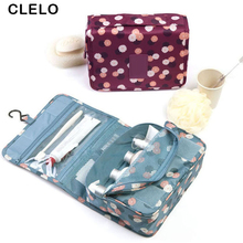 CLELO Cosmetic bag Portable Travel Organizer women Zipper Make up Bag with Hanging Hook Storage Toiletry For