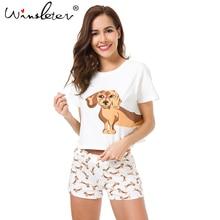 Nave de la de las mujeres conjuntos de pijama de perro Corgi Chihuahua perro pastor alemán Top pantalones cortos elástico en la cintura suelto S6706