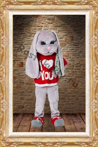 Hare Puppet Mascot Costumes  Bunny mascot costumes with Red T-shirt for Adult Animal Christmas Carnival party event