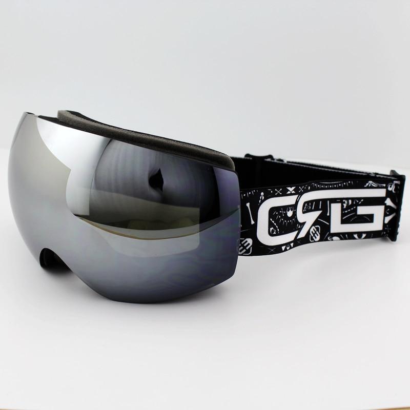 11a1ee30f0a Silver Lens Black Frame Brand Ski Goggles Double UV400 Anti-Fog Big Ski  Mask Glasses Skiing Men Women Snow Snowboard Goggles