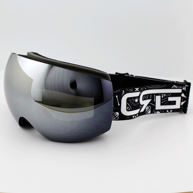ac63db33b1c Silver Lens Black Frame Brand Ski Goggles Double UV400 Anti-Fog Big Ski  Mask Glasses Skiing Men Women Snow Snowboard Goggles