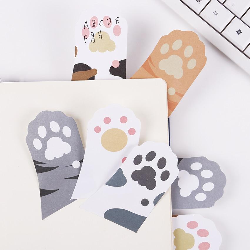 3 шт. милый кот Paw Memo Блокнот Memo Pad самоклеящиеся заметки закладки подарок канцелярские