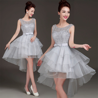 2017 New Arrival Light Silver Grey Prom Dress Front Short Long Back With Bow For Elegant