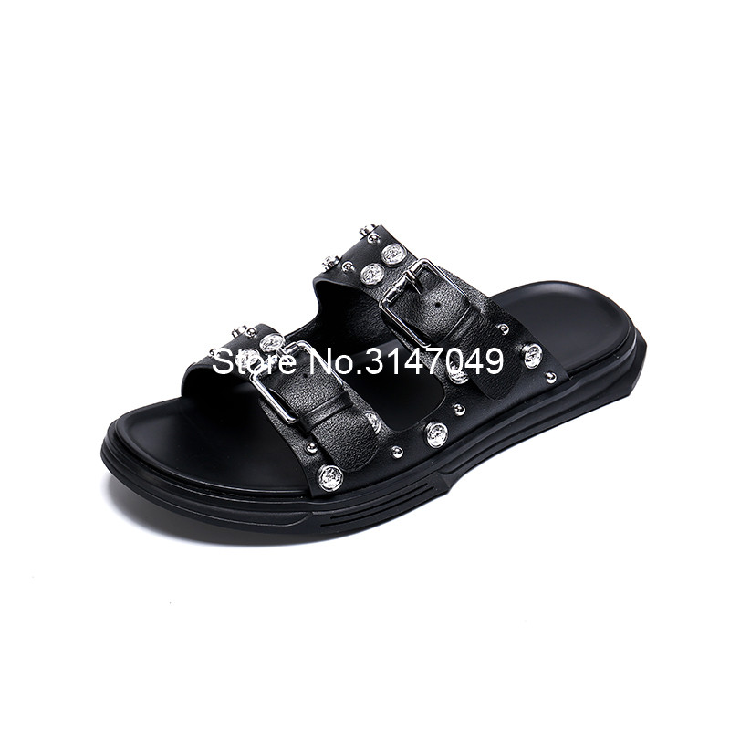 Summer Real Leather Slippers Men Cool Crystal Mens Sports Flip Flops Buckle Straps Massage Slippers Thick Heel Rome Slides Men in Slippers from Shoes