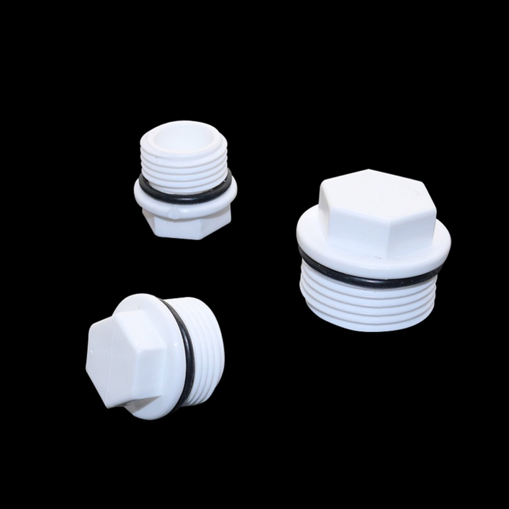 1/2,3/4,1 Inch Male Thread Plug PVC Pipe European Standard Screw Plug Pipe Fitting Tube End Caps Plumbing Accessories 6 Pcs