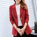 2016 novo blazer slim mulheres blazers e jaquetas mulheres pequenas terno Coreano versões dentro (azul/vinho) mulheres escritório ternos JN878