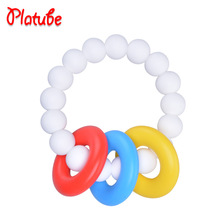Natural Baby Toy Silicone Teething Ring Toy in Chewable Teether Silicone Toy Teething Baby Shower Gift