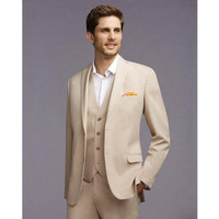 Custom Made New Arrival Groom Tuxedos Notch Lapel Men's Suit Champagne Best Man Wedding Prom Suits(Jacket+Pants+Vest)
