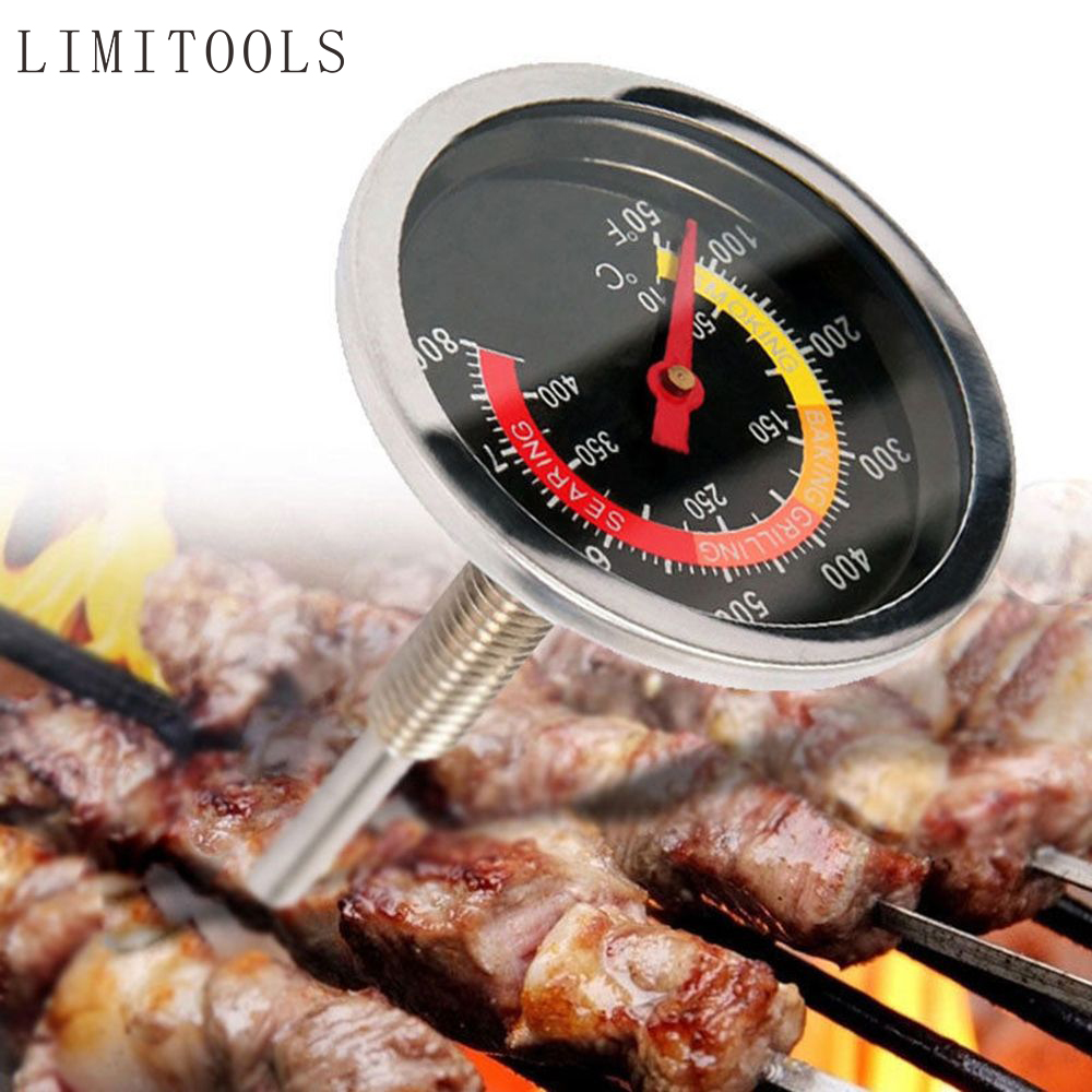Outdoor Barbecue BBQ Stainless Steel Display Thermometer Roast Barbecue BBQ Pit Smoker Grill Temp Gauge Temperature Controll