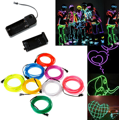 1M Flexible Neon LED Light Glow Wire String Rope Tube Car Interior ...