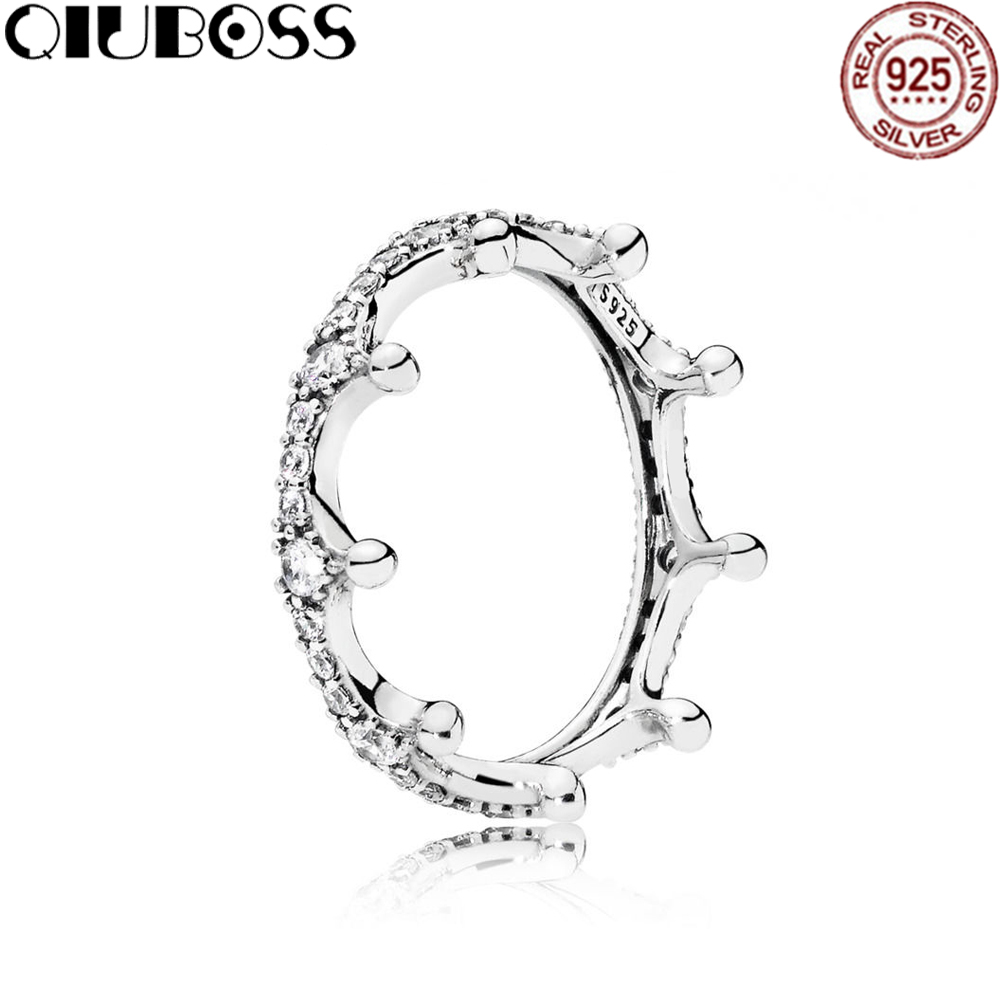 QIUBOSS 100% Sterling silver  197087CZ ENCHANTED CROWN RING Original Women wedding Fashion Jewelry