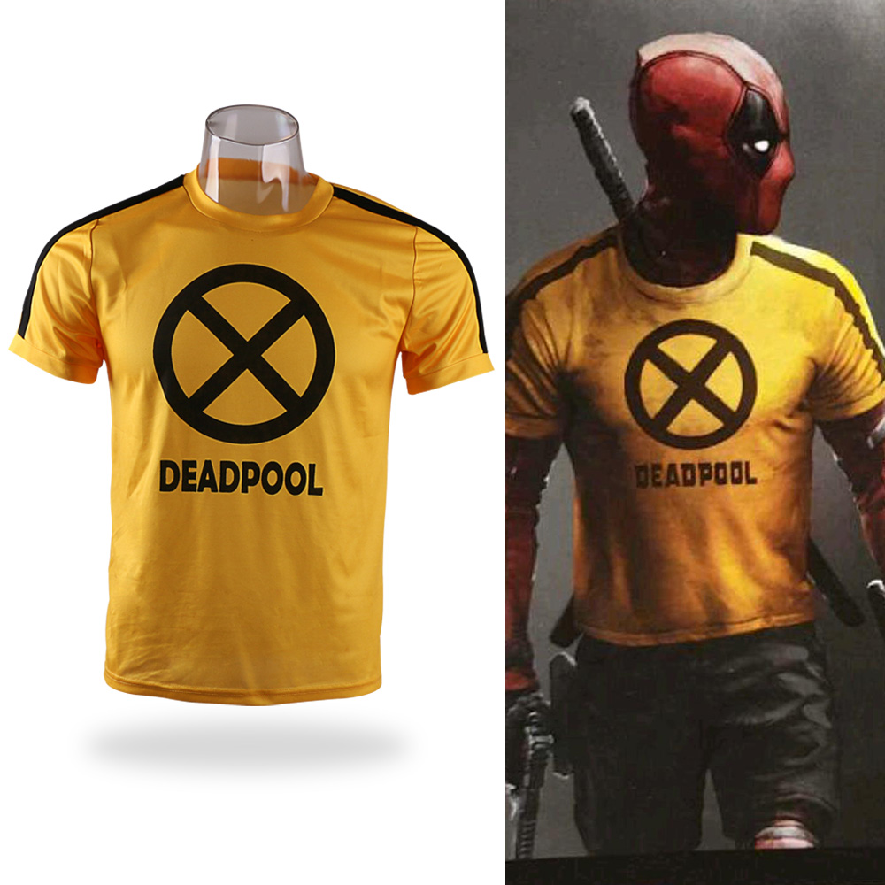 2018 Movie Deadpool 2 Superhero Yellow Slim Short Polyester Short Sleeve Cosplay Mens T-shirts Tee Shirts Costume Halloween