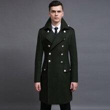 2017 новый Дизайн мужские пальто pluz шерстяное пальто размер S-6XL негабаритные высокий и большой мужчины зеленый шерстяные пальто германия армия военно-морского флота