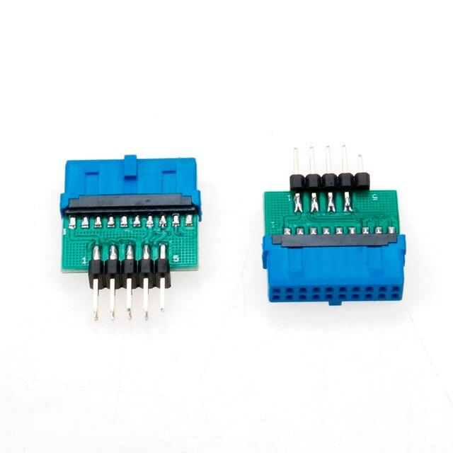 YuXi USB3.0 19 PIN 20 pin hembra a USB2.0 9 pin macho adaptador USB 3,0 19/20Pin a USB 2,0 9PIN convertidor adaptador chasis frontal