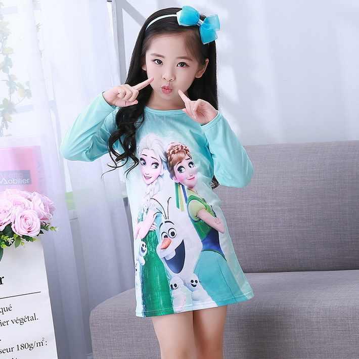 7063f39b6c84 A% A-489 Hot Sale Girls Nightgown Baby Spring autumn Cartoon night dress  kids