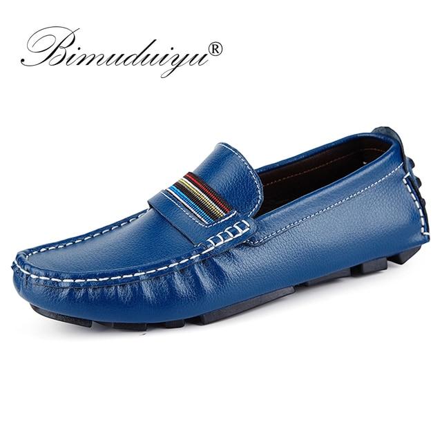 BIMUDUIYU Merk Britse Stijl Casual Mannen Loafers Schoenen Mode Echt Leer Ontwerp Rijden Mannen Platte Schoenen Handgemaakte Schoenen