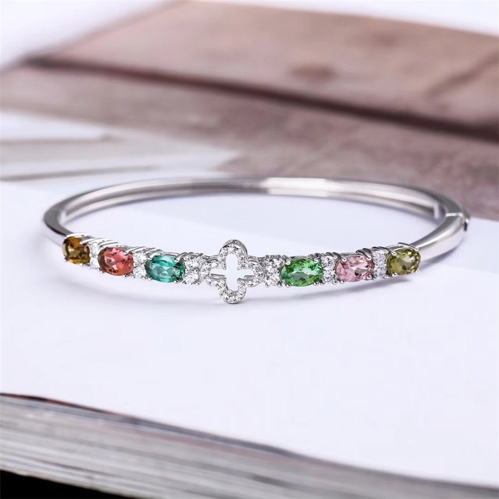 gemstone fine jewelry factory 2019 new-designed trendy  925 sterling silver natural colorful tourmaline bangle for femalegemstone fine jewelry factory 2019 new-designed trendy  925 sterling silver natural colorful tourmaline bangle for female
