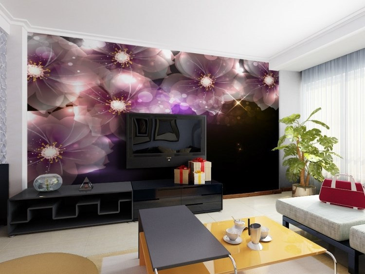 Shining Glitter purple Flower 5D Papel Mural wallpaper for TV background living room 3d wall Murals 3d Photo Murals 3d Murals 3d mural papel de parede purple romantic flower mural restaurant living room study sofa tv wall bedroom 3d purple wallpaper