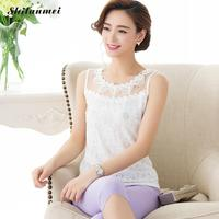 Elegant White Lace Top Plus Size Women S Sexy Tank Tops Lace Flower Pattern Tops Transparent