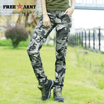 Nowy wzór spodnie na lato kobiety Camo dorywczo spodnie wojskowe spodnie wojskowe proste spodnie bawełniane spodnie capri kobieta Plus rozmiar tanie i dobre opinie Free Army spandex COTTON Pełnej długości GK-9522B Stałe Military Camouflage spodnie Mieszkanie REGULAR Fałszywe zamki