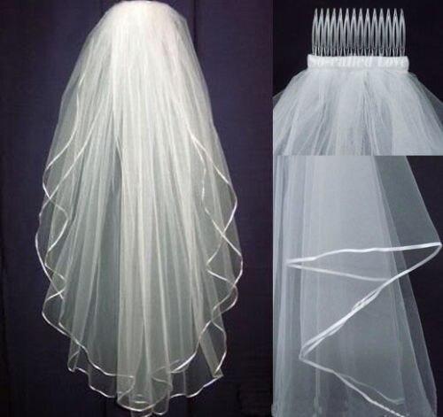 2015 Cheap Two Layer white wedding bridal Veil wit...