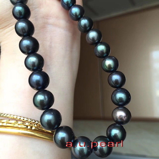 shipping free AAAAA 18 inch 10-11mm Natural REAL ROUND TAHITIAN black pearl necklace free shipping alongest 65 genuine natural 11mm black round pearl necklace f1544 a