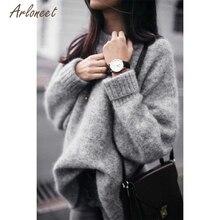 Зимний модный женский свитер серого цвета, топы с длинными рукавами, Однотонный свитер, повседневный свободный трикотажный пуловер, Прямая поставка OB19