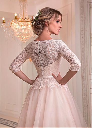 Image 3 - Fashionable Tulle & Lace Jewel Neckline A line Wedding Dresses With Belt Lace Bridal Gowns Illusion Robe De Mariage Floor Length-in Wedding Dresses from Weddings & Events