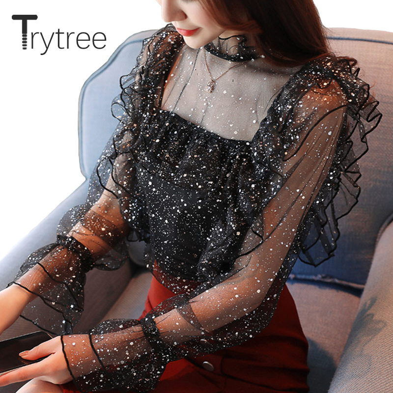 Trytree Spring Summer Women   Blouse   Chiffon Casual Lace Full sleeve Patchwork   Blouse     Shirts   Hollow Out Office lady Tops Pullovers
