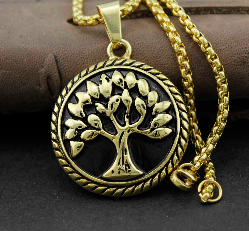Gold Stainless Steel Celtic Tree Of Life Pendant Necklace Chain