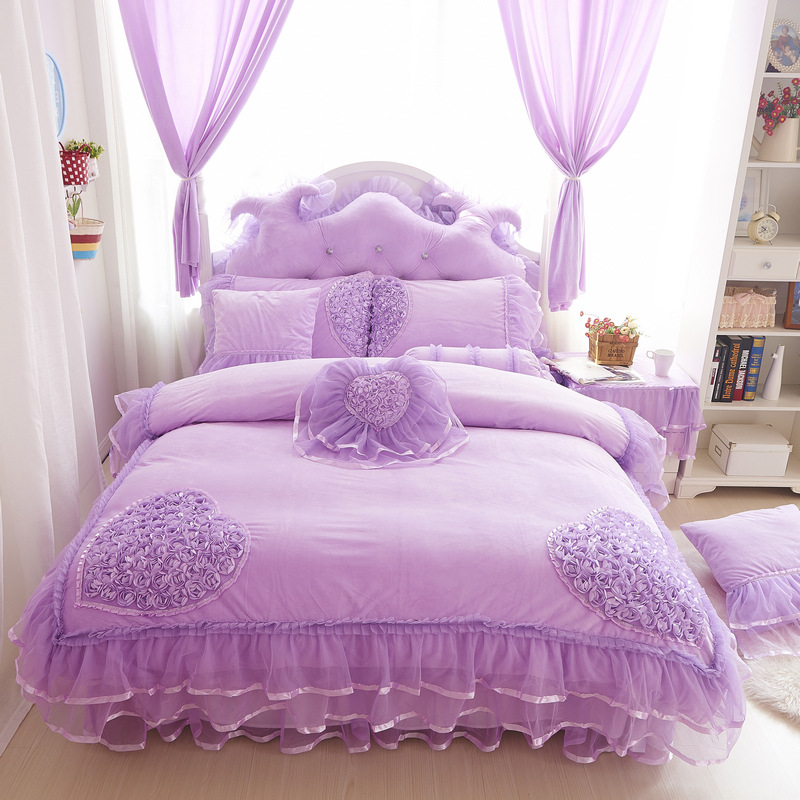 Luxury Lace 4pcs Set Duvet Cover Bed Skirt Pillow Case Size King
