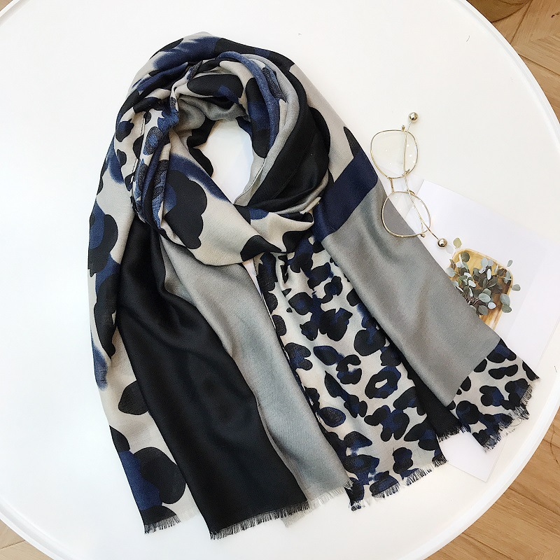 Ladies New Fashion Leopard Patchwork Viscose Shawl Scarf Autumn Winter Muffler Headband Foulard Sjaal Wrap Hijab Snood 180*100Cm