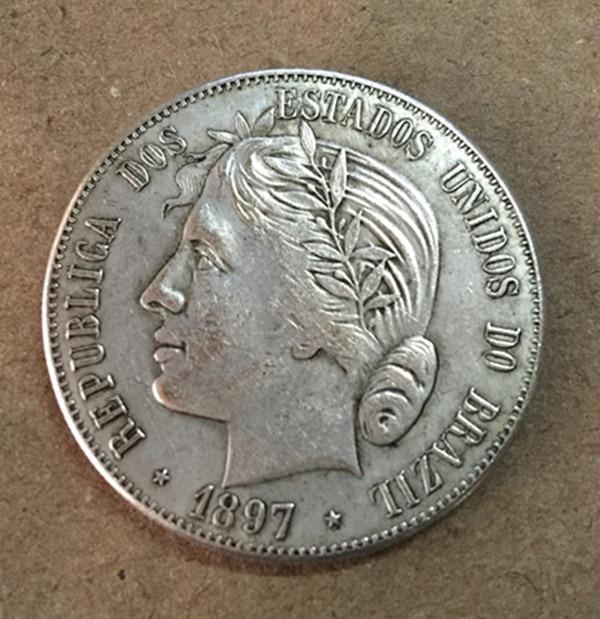 1897 БРАЗИЛИЯ 2000 Reis серебро Копировать монет