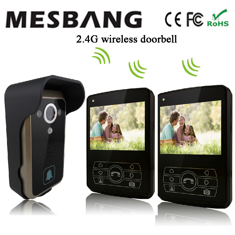 2017 new black olor 2.4G wireless video door phone one camea two 3.5 inch monitor easy to install free shipping ...