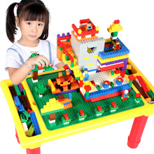 hot deal buy multi-fonction blocks desk with baseplate diy creative brick desk educational toy for kids compatible with brand blocks
