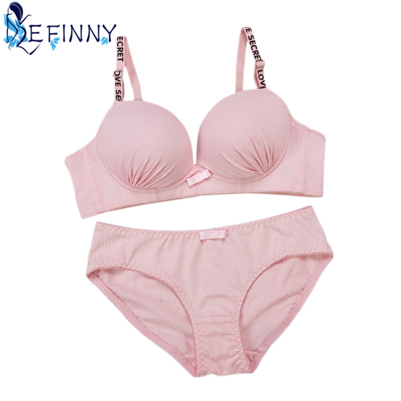 Newest Young Girl Bra Set Everyday Intimates Solid Push Up Bra Student Wire Free Cotton B Cup Lingerie Comfortable Brief Set