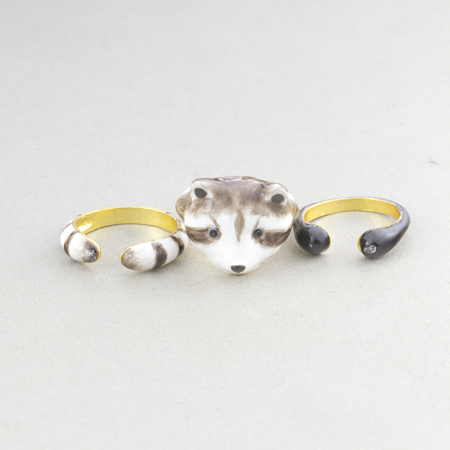 GORGEOUS TALE 3pcs/Set Raccoon Ring Jewelry, Cute animal Rings For Women, Unique gold Plated knuckle Joint Rings