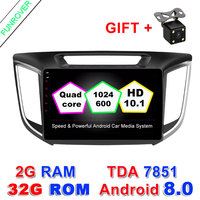 FUNROVER 10 1 Android 8 0 CAR Audio DVD Player For HyundaiI Ix25 CRETA Gps Multimedia