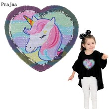 Prajna Unicorn Patches Reversible Change Color Magic Rainbow Sequins Patch Jacket DIY Dress Kid Clothing Applique Letter Sticker